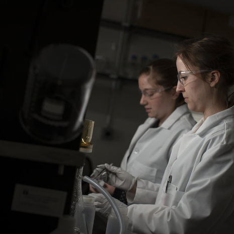 Two Temple students work in a lab