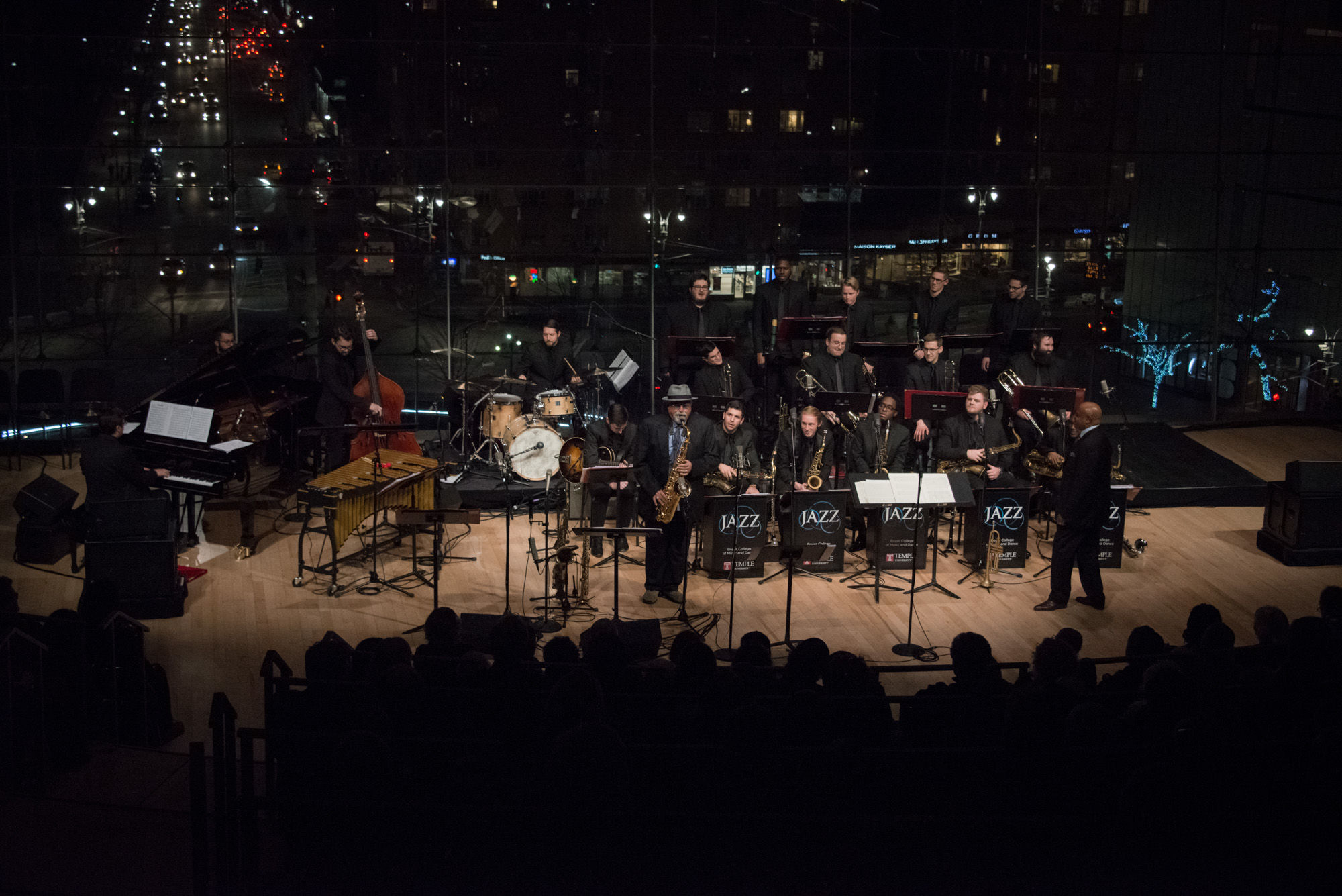 Temple University Jazz Band musicians perform on stage at the The Appel Room at Jazz at Lincoln Center.