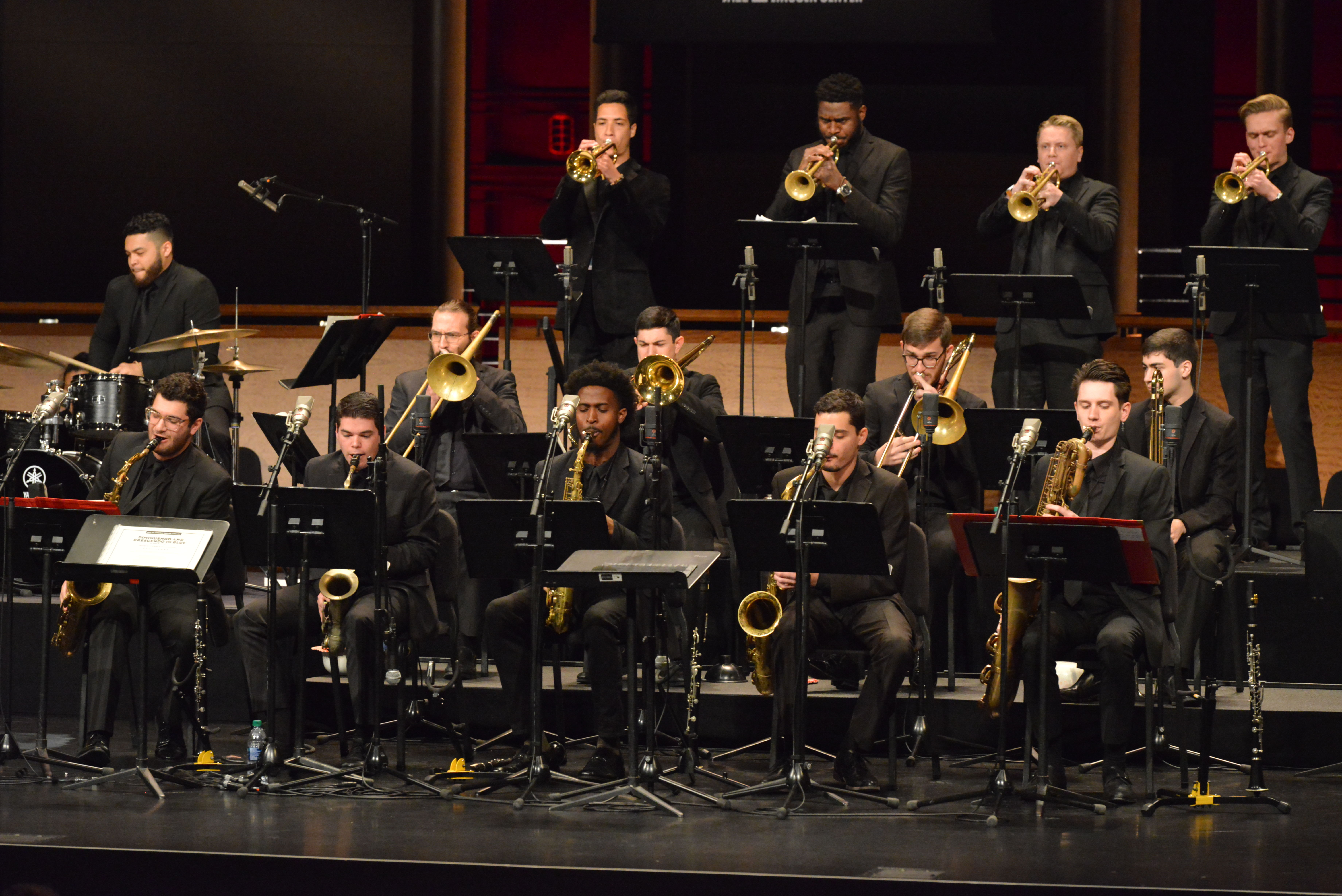 Temple University Jazz band musicians and director Terell Stafford performing on stage at Lincoln Center.