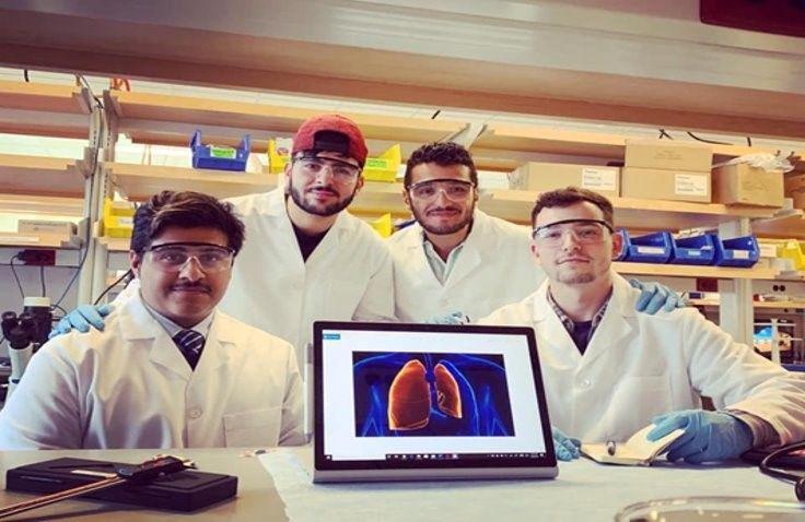 Temple's Bioengineering senior design team in the lab.