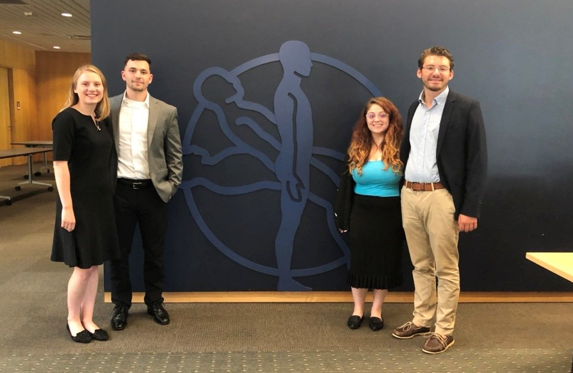 Students from the College of Engineering pose together during an internship.