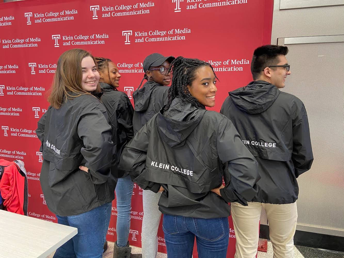 Klein College seniors participating in the TU Public Relations Bateman Competition pose with their Klein jackets.
