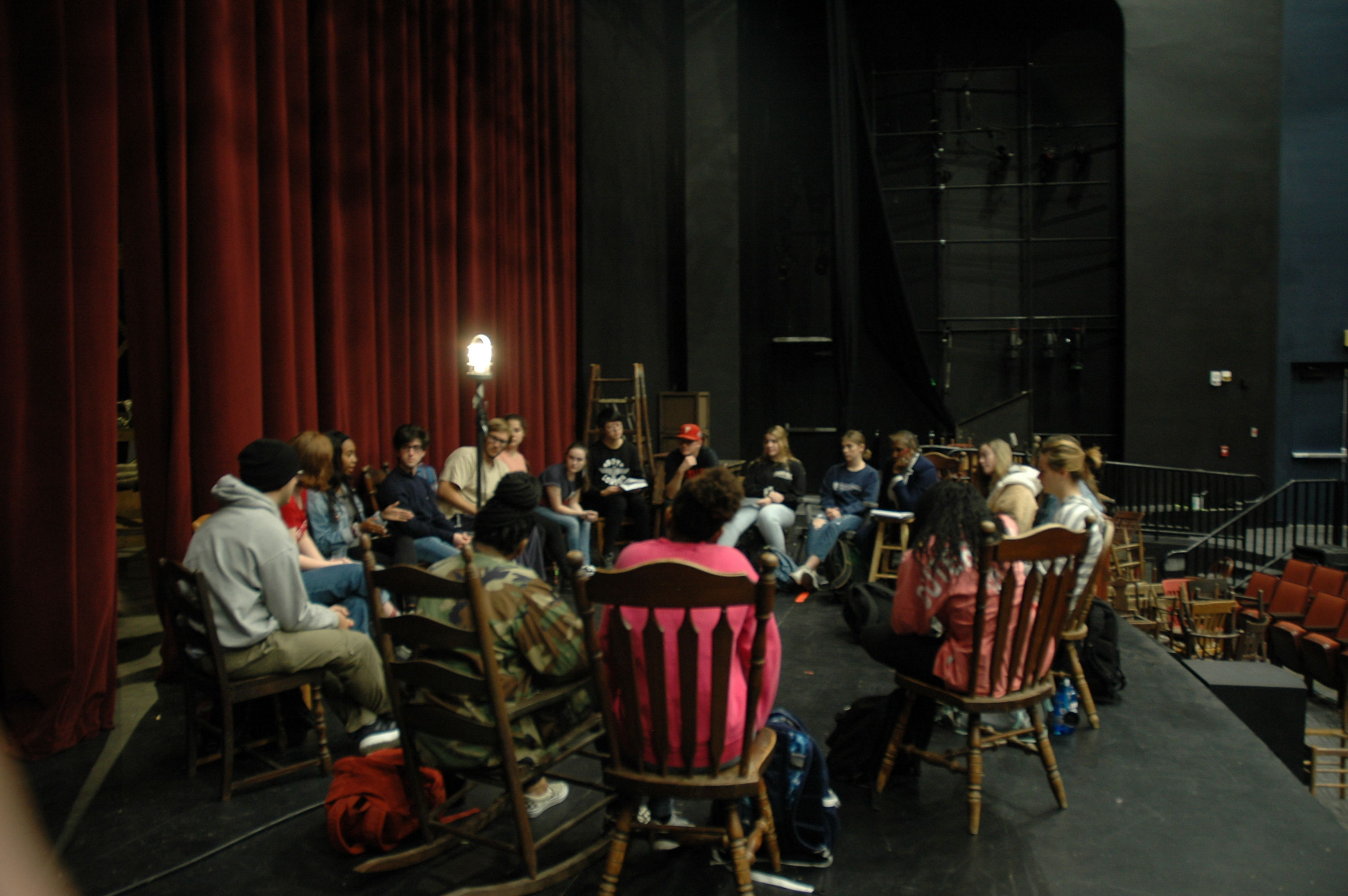 Theater, Film and Media Arts students conduct an onstage class.