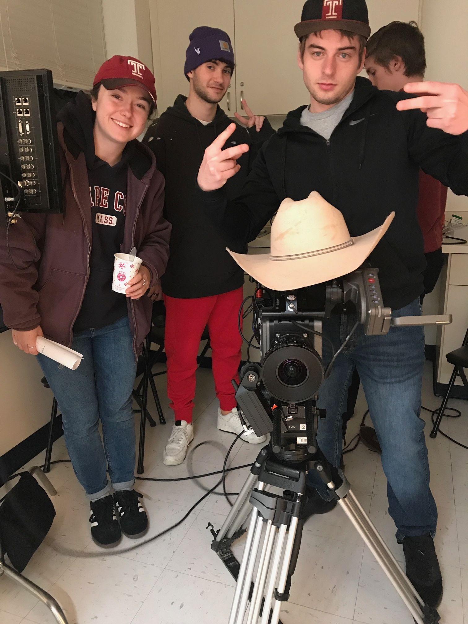 TFMA seniors prepare to film a scene.