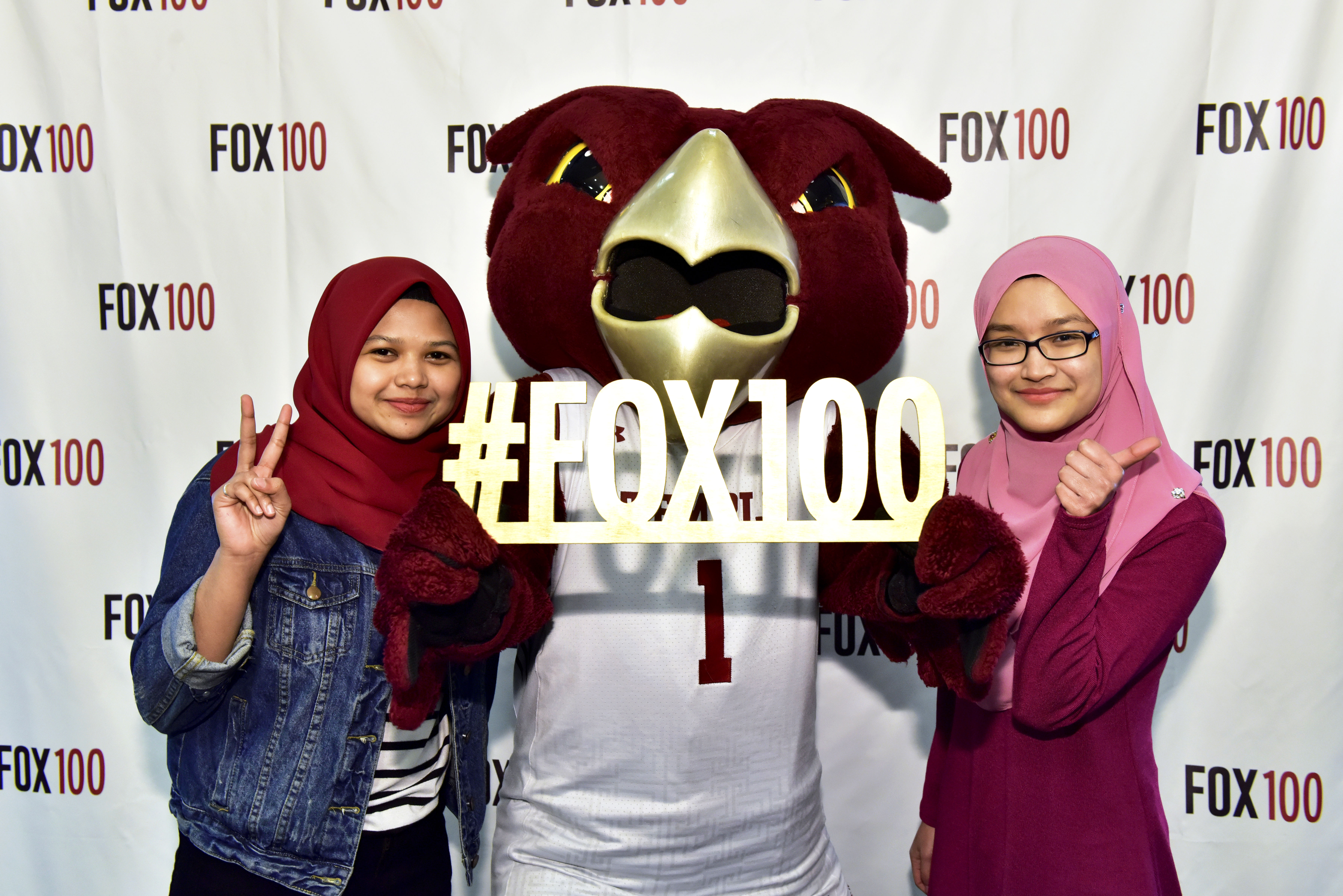Hooter, the Temple mascot, helps celebrate 100 years of education at Fox.