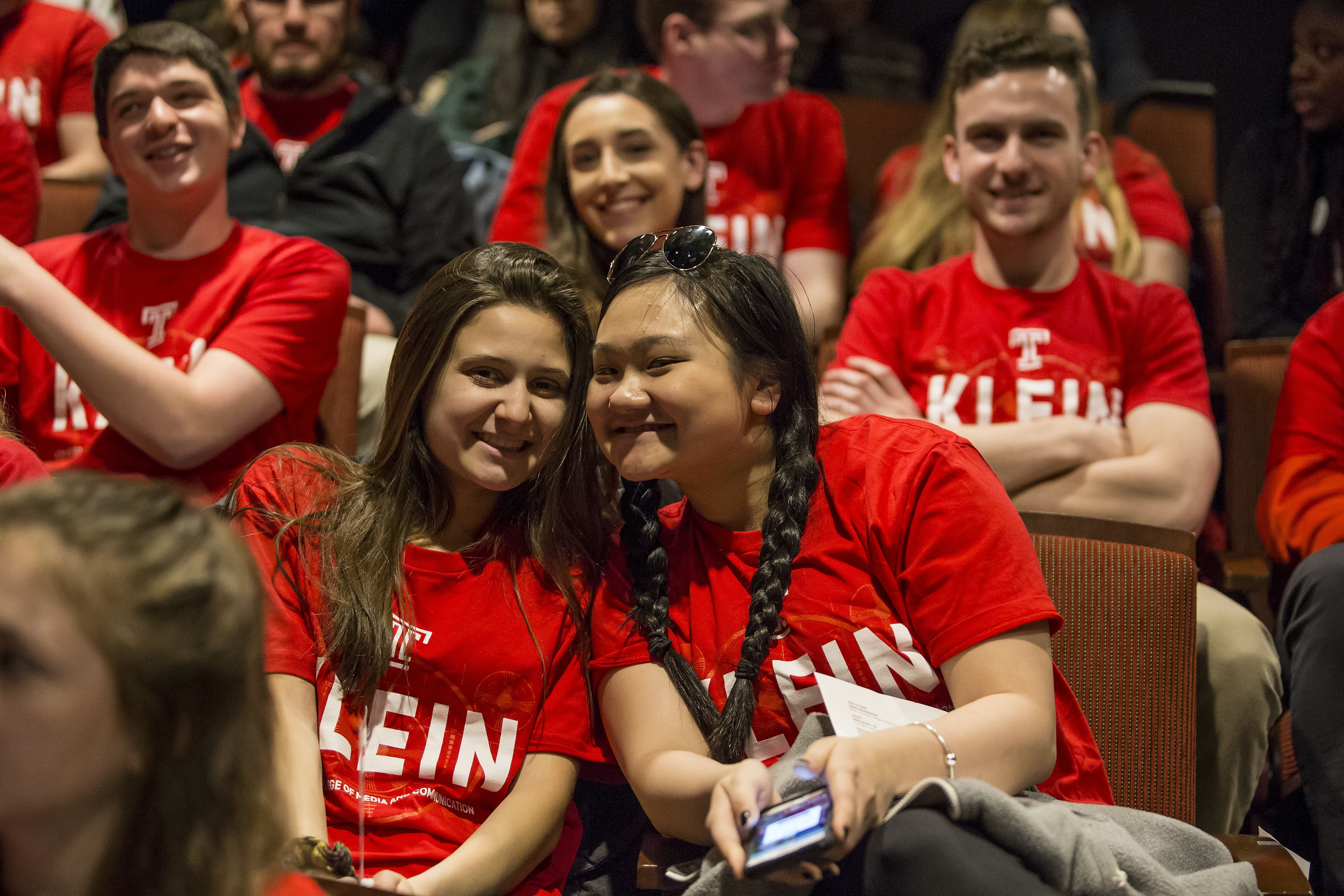 Klein Students join celebration of the naming of Lew Klein College of Media & Communication in March 2017.