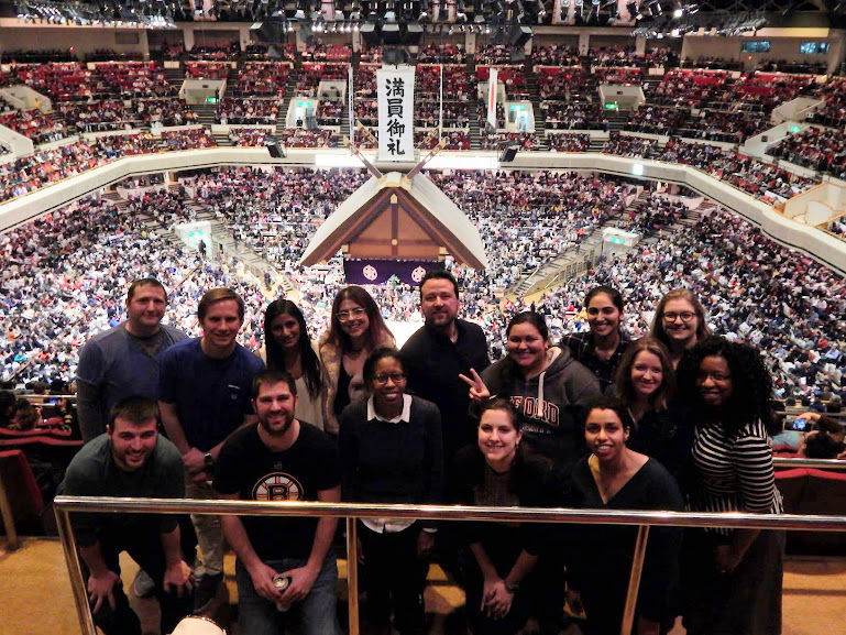 Law students from Temple University Japan at a Sumo tournament.