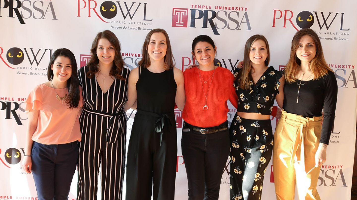 Student leaders came together with alumni to celebrate the 10th Anniversary of Klein College's student-run PR agency PRowl.
