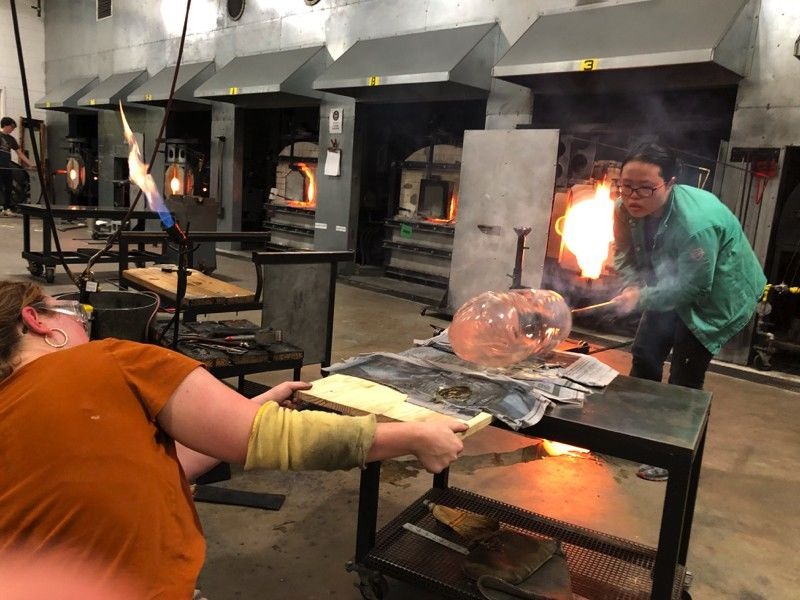 Tyler students working in Glass facilities.