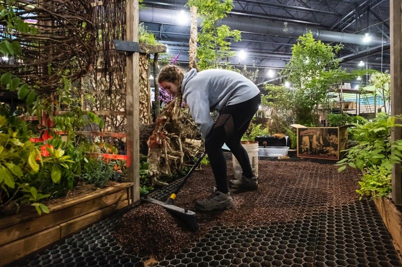 A student helps construct Tyler's exhibit at the 2020 Philadelphia Flower Show