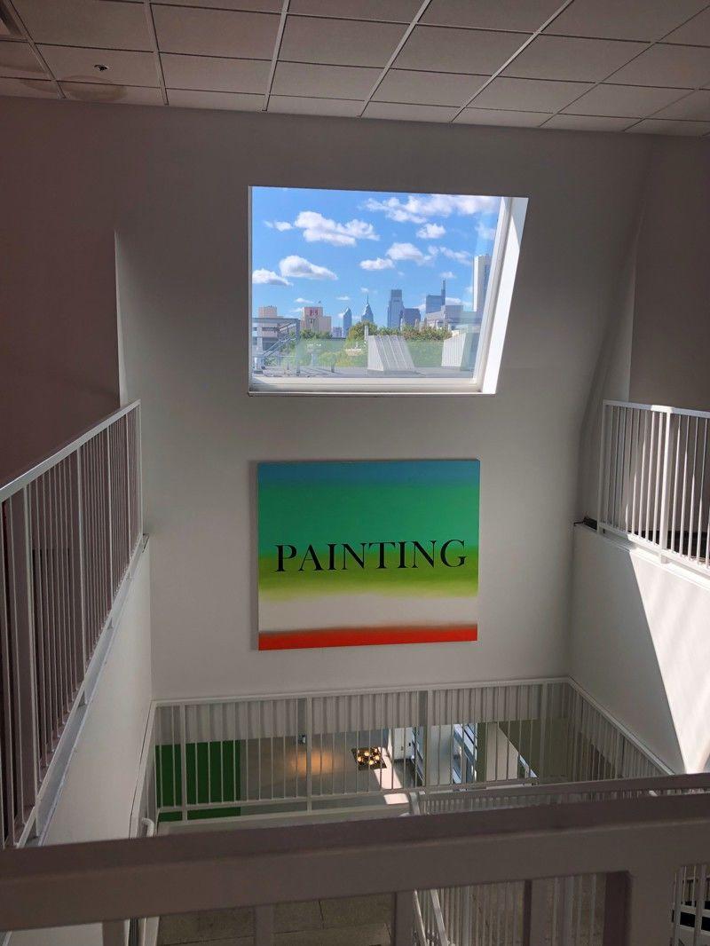 View of Philadelphia's skyline from Tyler's third-floor painting facilities.
