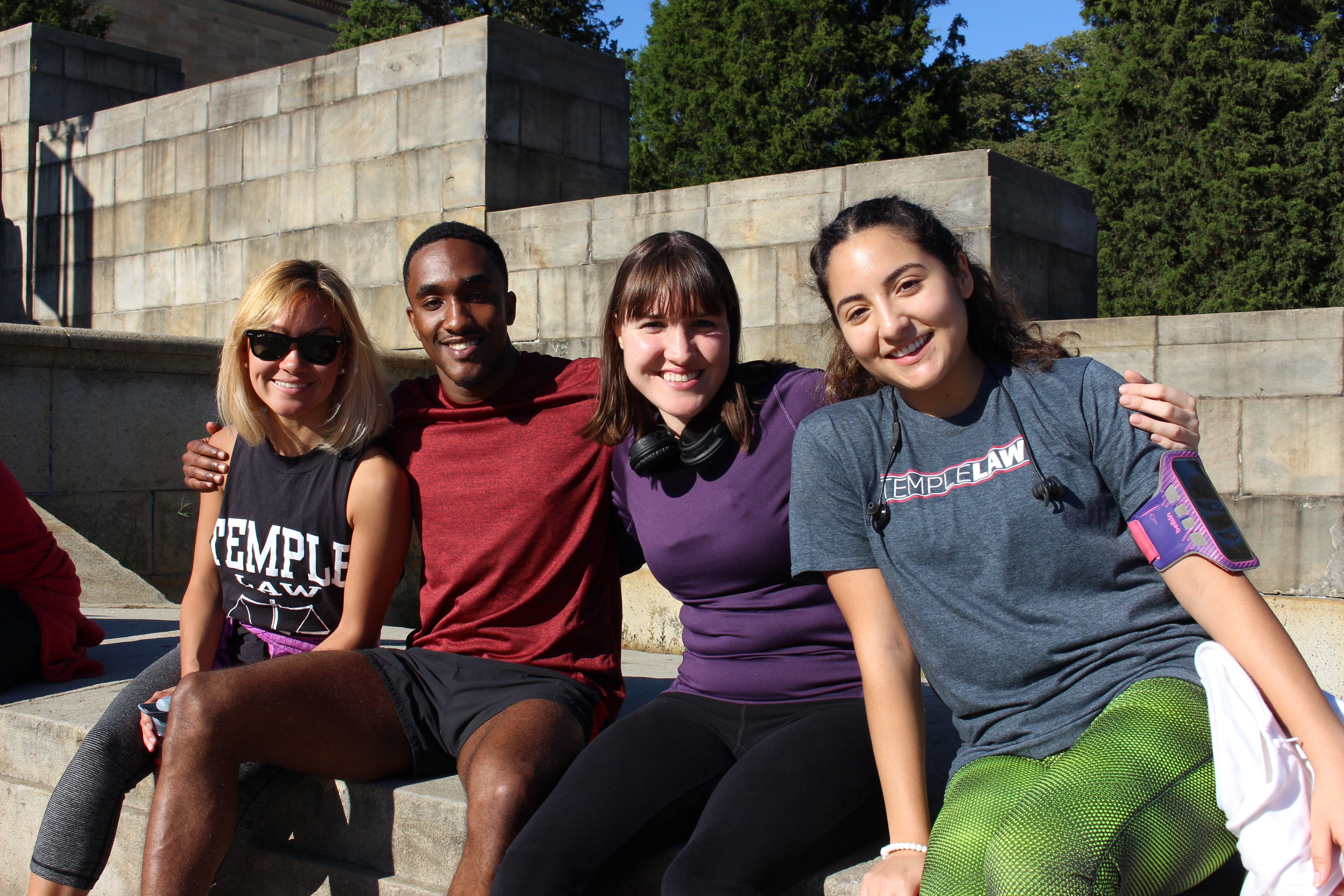 Temple Law students enjoy a beautiful day in Philadelphia as a part of the Fun Run wellness event.