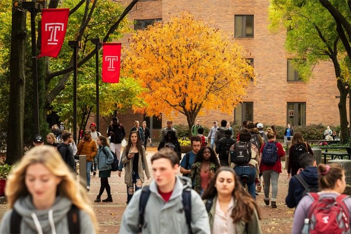 Ritter hall with students walking on Temple campus in the fall.