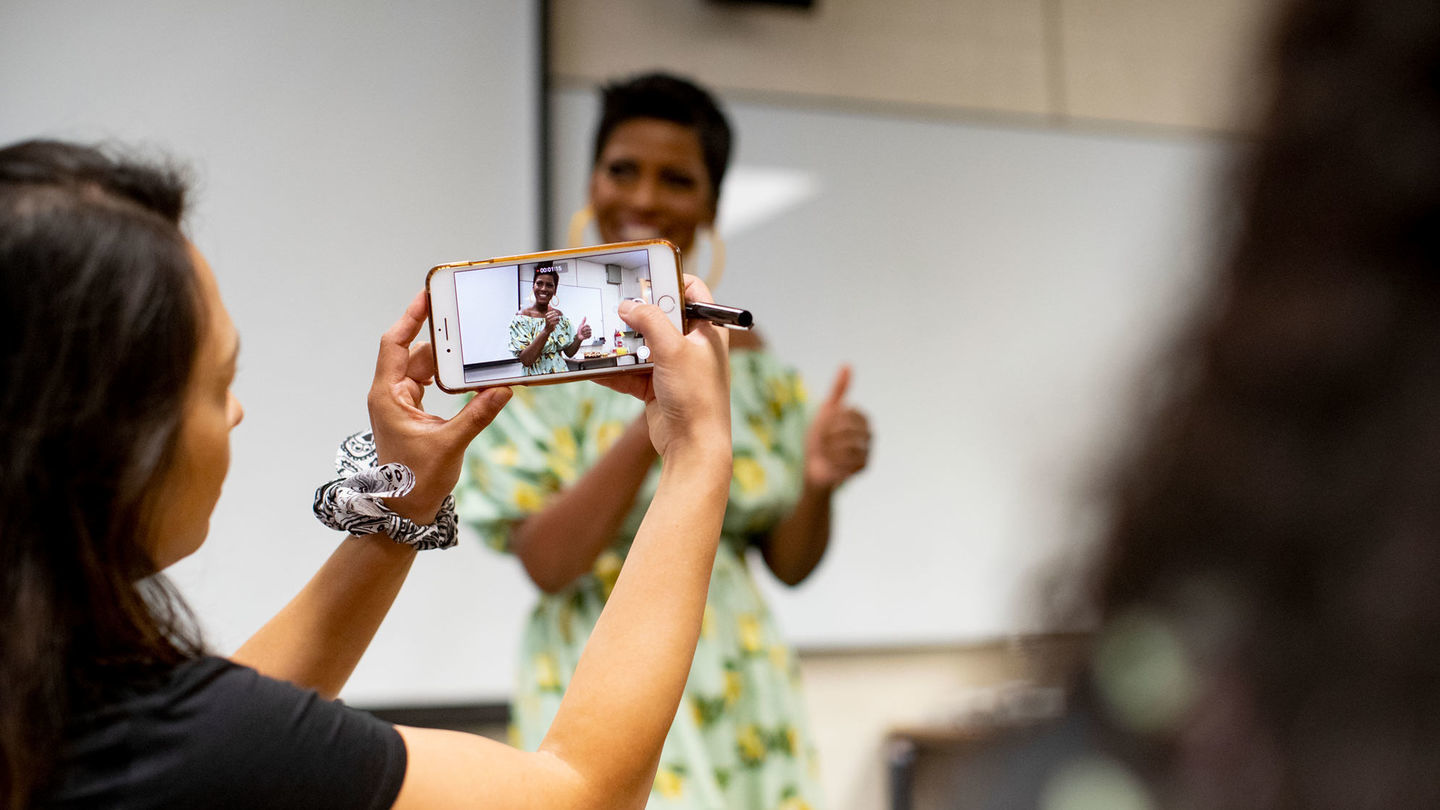 Tamron Hall surprises unsuspecting students with a visit to her alma mater.