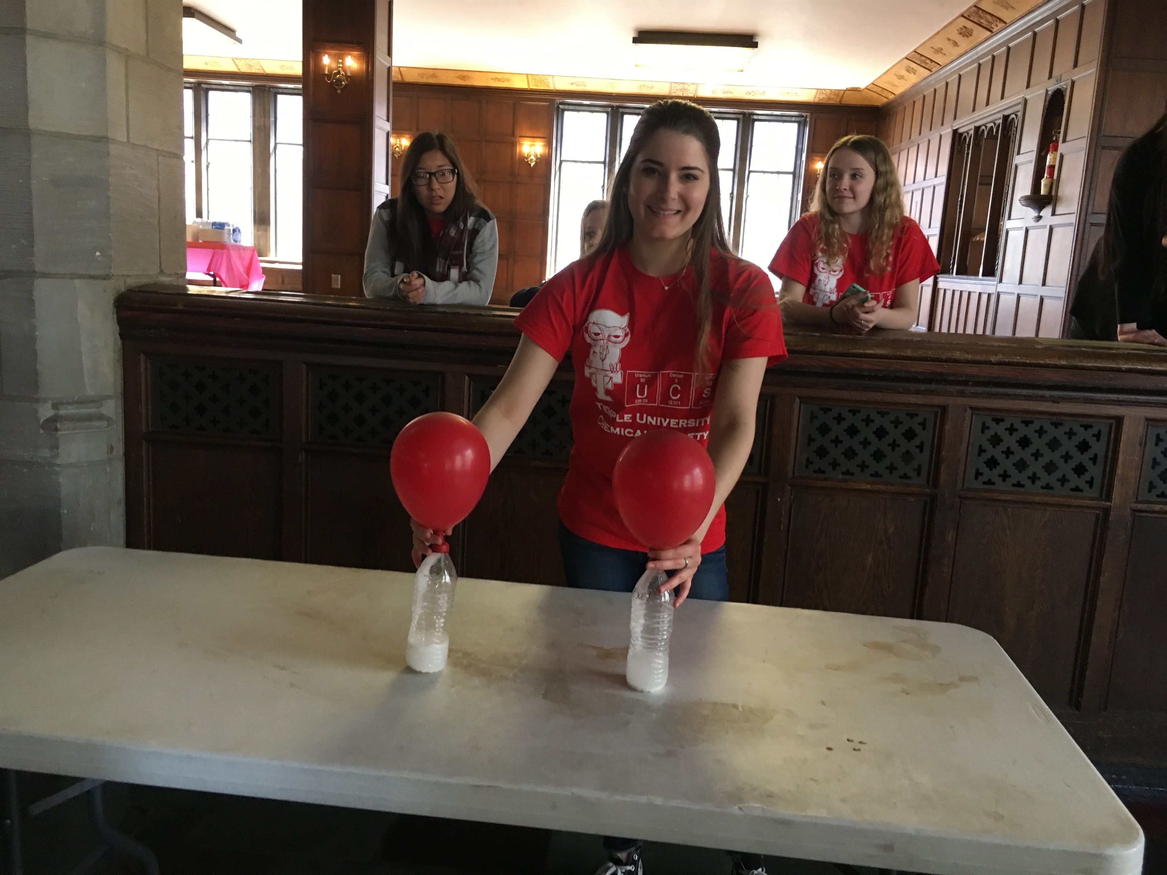 College of Science and Technology students participate in the chemistry wars event.