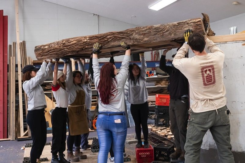 Students constructing flower show exhibition for their landscape architecture and horticulture class