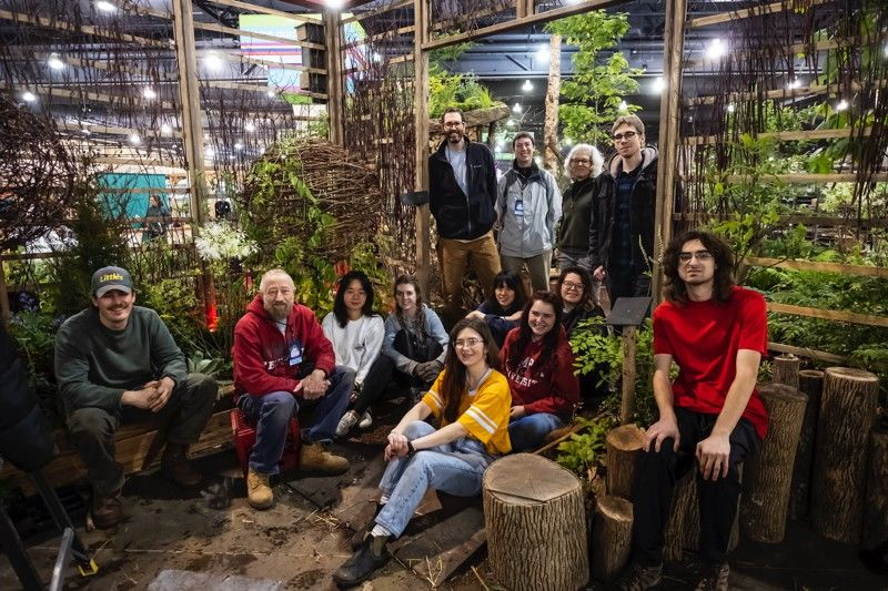Students in Tyler's Landscape Architecture and Horticulture programs with their exhibit in the 2020 Philadelphia Flower Show
