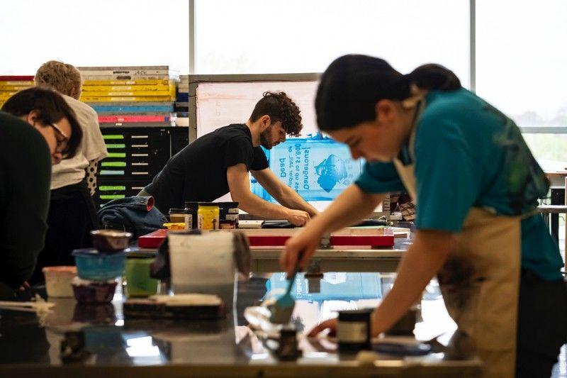 Students in Tyler's Printmaking Program.