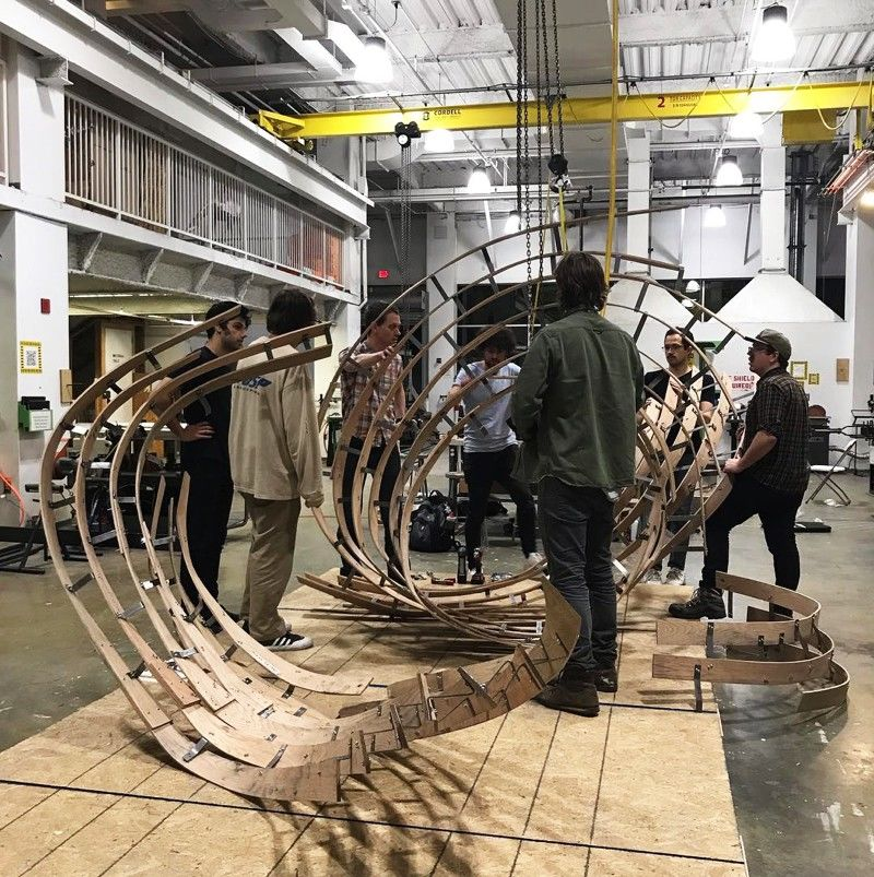 Students and faculty from Tyler's Architecture, Ceramics, Glass, Metals/Jewelry/CAD-CAM and Sculpture programs collaborated to create a sculpture as part of Tyler's Holographic Handcraft Workshop in 2019.