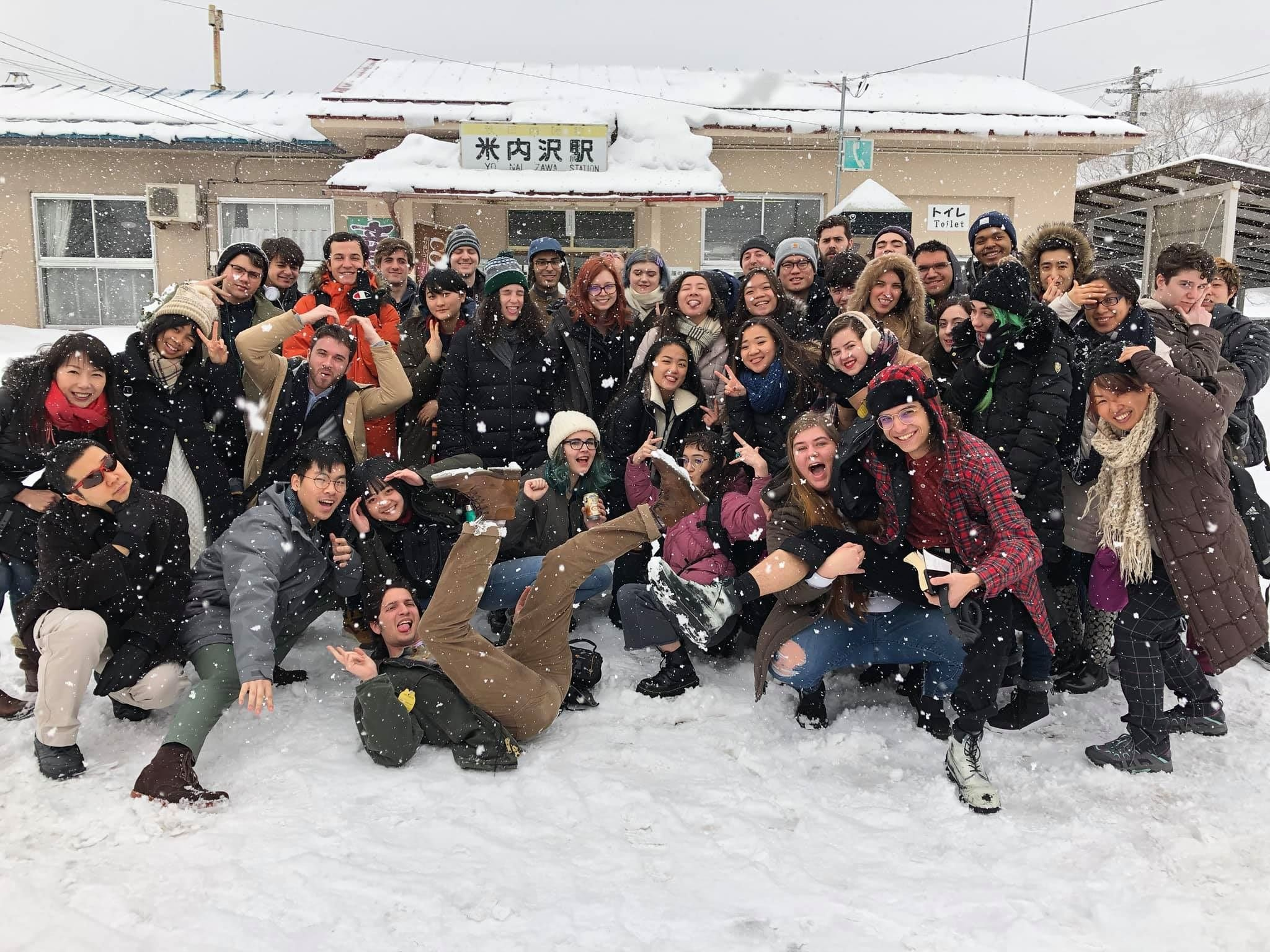 A large group photo of Temple University Japan students.